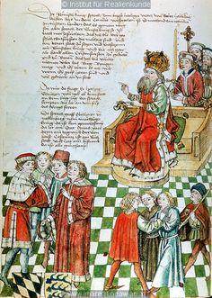 Konzil von Konstanz  Sigismund, Verhandlungen zu Lodi   Dieses Bild: 006699     1465 ; 1475 ; Wien ; Österreich ; Wien ; Österreichische Nationalbibliothek ; cod. 3044 ; fol. 31v