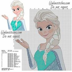 Princess Elsa from Disney Frozen cartoon free cross stitch pattern 123 x 149 17 colors
