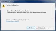 VBpuntoNet: Error: 'Android.Support.V4.Widget.DrawerLayout.Add...