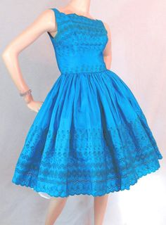 ~vintage 1950s eyelet lace dress in outstanding ocean blue, now available from VFG member, Memphis Vintage on ebay~