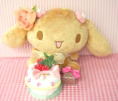 Sweet Mocha with a cake  a present for Cinnamoroll. Plush