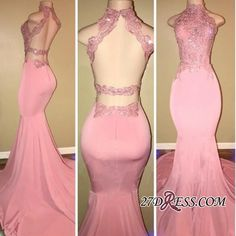 Gorgeous High Neck Pink Lace 2108 Prom Dress Mermaid Long On Sale_High Quality Wedding Dresses, Prom Dresses, Evening Dresses, Bridesmaid Dresses, Homecoming Dress - 27DRESS.COM