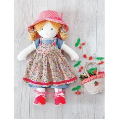 Doll with Strawberries Sewing Pattern Download - Toy Patterns to Download - PDF Craft Pattern Downloads - Craft eBooks and Downloads