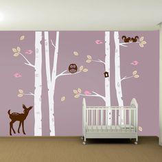 Kids Nursery Birch Tree Wall Decal Set - Owl Deer Fawn Birds Squirrels Vinyl Wall Art Sticker