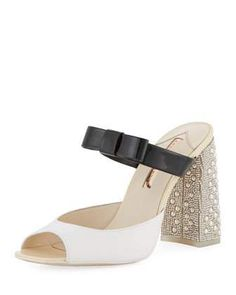 Andie Embellished Two-Tone Leather Mule Sandal by Sophia Webster at Neiman Marcus.