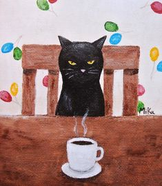 Black Cat Illustration Print Funny Black Cat Print by mikaart