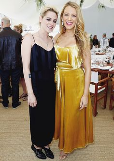 Blake Lively and Kristen Stewart at the Cafe  Society press luncheon during the 2016 Cannes Film Festival