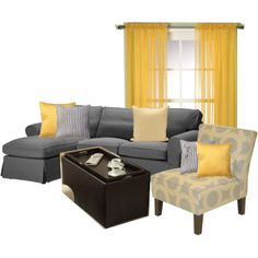 Living Room Redecoration, option 2: yellow, grey and beige