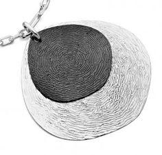 Jorge Revilla Sterling Silver and Ruthenium Plated Signature Collection Pendant - Huella (Spanish for fingerprint)