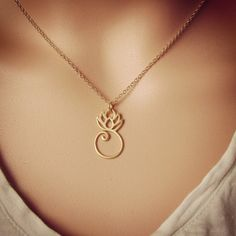 Bridesmaid Gift Gold Lotus Necklace, Gold Lotus Pendant, Spiritual Wedding Jewelry by Shiny Little Blessings.