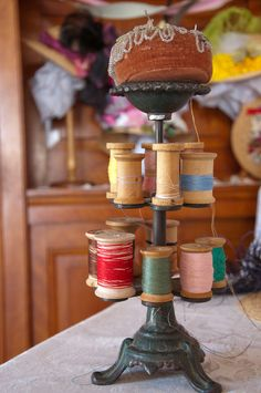 | Antique thread spool holder at Cohen Millinery | at Greenfield Village, Dearborn, Michigan