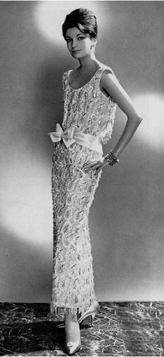 1959 Model in white satin sheath entirely embroidered in crystals and gold by Lanvin-Castillo