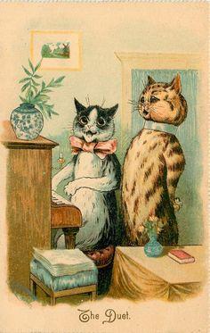 THE DUET - Postcard by Louis Wain (1906)