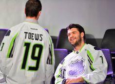 Jonathan Toews at Brent Seabrook at the NHL All-Star Fantasy draft.