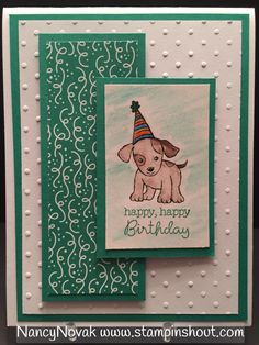 Stampin' Up Little Cuties, Stampin' Up Party Animal DSP, Stampin' Up Water Color Pencils. Card created with Stampin' Up Occasion 2017 Products. Shop on line 24/7.  https://www.stampinup.com/ecweb/default.aspx