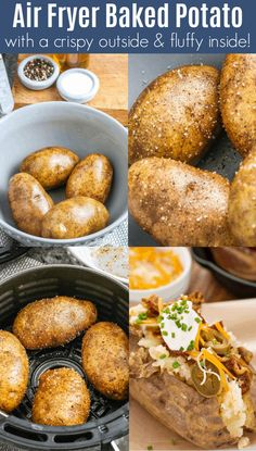 This air fryer baked potato recipe makes perfect baked potatoes with a crispy outside, and tender inside, every time! Plus, they cook quicker than they do in the oven! Best Baked Potato, Air Fryer Baked Potato, Perfect Baked Potato, Baked Potato Recipes, Baked Potatoes, Air Fryer Oven Recipes, Air Frier Recipes, Air Fryer Dinner Recipes, Pampered Chef Recipes