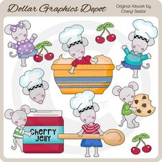 Kitchen Mice - Clip Art Collection - Only $1.00 at www.DollarGraphicsDepot.com : Great for printable crafts, scrapbook pages, web graphics, greeting cards, cooking party invitations, recipe cards, canning labels, shopping lists, bag toppers, kitchen wall art, apron iron-on transfers,  cookie mix-in-a-jar labels, and much more!