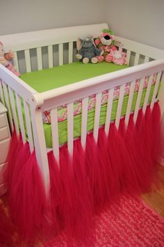 So unique to pair lime green sheets with hot pink tulle crib skirts  #limegreen #cribskirt #nursery