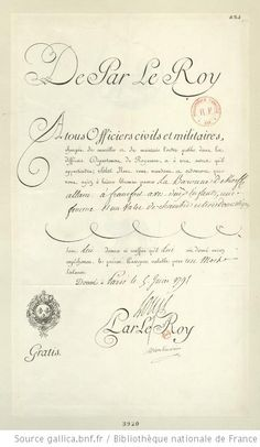 Facsimile of the passport issued on June 5, 1791 by M. de Mont-morin, Minister of Foreign Affairs. It was a copy of this passport that the Royal Family used to aid them in their escape attempt.