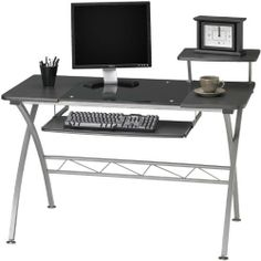 Computer Desk IZA029 by Mayline. $228.00. Top accessory shelf - can locate on the left or right side of the desk top. Contemporary glass inset desktop perfect for laptop or screen. Sleek steel cross leg design. Ships ready for easy assembly. Slide-out keyboard tray. Computer DeskbyMayline Office Furniture Trusted: 20+ Years Experience. Overall: 47.25 in W x 23.75 in D x 34 in H ,. Save 33% Off!