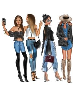 Group of 4 custom fashion illustration best friend drawings, bff drawings, drawings of clothes Best Friend Drawings, Girly Drawings, Fashion Design Drawings, Fashion Sketches, Fashion Drawings, Tumblr Fashion, Fashion Art, Fashion Group, Fashion Decor