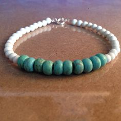 White Chalk Turquoise Beaded Bracelet with Blue-Green Magnesite Beads by CVioletJewelry $15