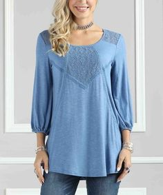 This Denim Blue Lace-Detail Scoop Neck Tunic - Plus Too is perfect! #zulilyfinds
