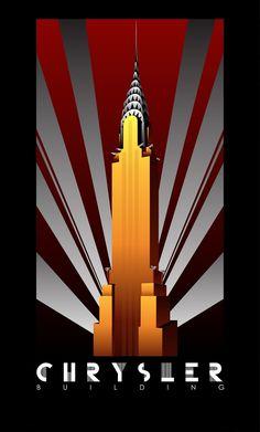 Art deco poster new york.chrysler building new york vintage travel Art Deco Posters, Posters Vintage, Poster Art, Kunst Poster, Poster Design, Vintage Art, Poster Prints, Vintage Travel, Advert Design