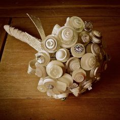 Handmade Wedding Button Bouquet by StablesHomeandGarden on Etsy, £65.00