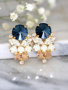 Blue Navy Earrings, Navy Blue Swarovski Earrings, Bridal Dark Blue Earrings, Gift For Her, Bridal Rose Gold Cluster Earrings,Blue Navy Studs by iloniti on Etsy https://www.etsy.com/listing/287749089/blue-navy-earrings-navy-blue-swarovski