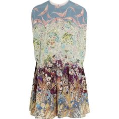 Valentino Printed silk crepe de chine mini dress (31.228.820 IDR) ❤ liked on Polyvore featuring dresses, tops, mini dress, valentino, blue, loose dress, flower pattern dress, short dresses, loose mini dress and silk print dress