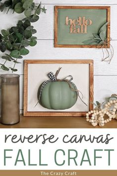 Grab some dollar store supplies and make these two cute Dollar Tree Fall Reverse Canvas crafts to decorate this autumn. Thanksgiving Decorations, Seasonal Decor, Halloween Decorations, Fall Decor, Dollar Tree Fall, Dollar Tree Crafts, Fall Crafts, Diy Crafts, Autumn Art