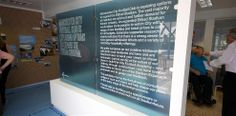 An exhibition showcasing Manchester City FC's stadium expansion plans at the Etihad.