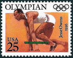 Postal Service issued a commemorative postage stamp in the honor of one of the Greatest Olympic Athletes. Jesse Owens (winner of 4 Gold Medals in the 1936 Berlin Olympics). Robert Mcginnis, Postage Stamp Design, Postage Stamps, Olympic Medals, Olympic Games, Fawcett, Jesse Owens, Berlin Olympics, Commemorative Stamps
