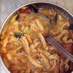 Trippa alle Verdure (Stewed Tripe with Vegetables) by Saveur. This earthy, intensely savory recipe came to us from Natale Rusconi, a longtime rival of Harry's Bar heir Arrigo Cipriani. Tripe Recipes, Lamb Recipes, Steak Recipes, Soup Recipes, Dinner Recipes, Hungarian Recipes, Italian Recipes, Mexican Food Recipes, Hungarian Food
