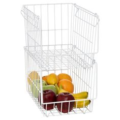 Howards Wire Stackable Basket Narrow - White - Howards Storage World Fruit And Veg, Fresh Fruit, Kitchen Organization, Kitchen Storage, Howard Storage, Narrow Rooms, Kitchen Accessories, Space Saving, Helpful Hints