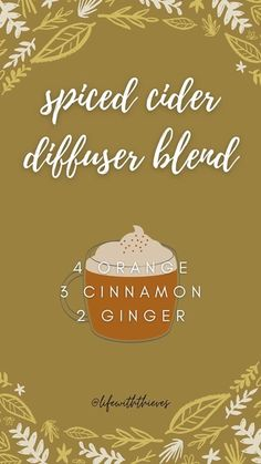Essential Oil Diffuser Blends, Doterra Oils, Doterra Essential Oils, Natural Essential Oils, Young Living Essential Oils, Aromatherapy Oils, Belleza Natural, Ginger Drink, Spiced Cider