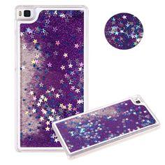 Fahsion Dynamic Liquid Glitter Quicksand Bling Sparkle Star Capa Para Fundas coque Back case cover for Huawei Ascend P8 Lite