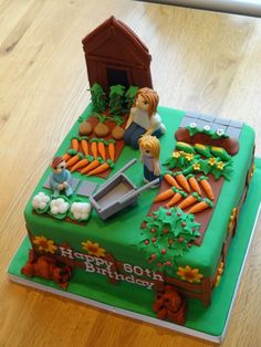 New birthday cake ideas for adults awesome dads 61 Ideas Country Birthday Cakes, Garden Birthday Cake, 70th Birthday Cake, Allotment Cake, Allotment Ideas, Allotment Gardening, Vegetable Garden Cake, Dad Cake, Garden Cakes