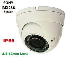 Gawker G1067PIRW 1000TVL Sony IMX238 Sensor Turret Dome CCTV camera IP66 Weather proof 2.8-12mm Varifocal lens IR Smart no ghost image DNR OSD White color metal case DC12V. For Sale