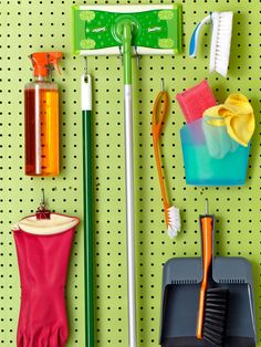 Laundry room with Peg board in the broom closet