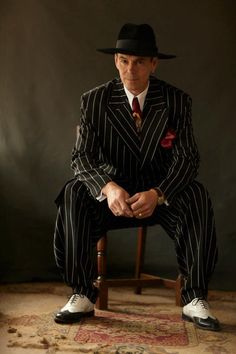 70c9863b177 italian vintage mafia double breasted dark suit red rose fedora ...