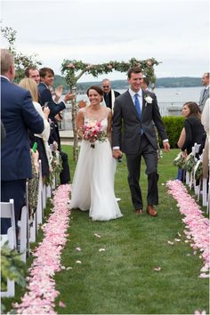 pink rose petal isle runner at Bar Harbor Club Maine wedding Maine Wedding Venues, Lakeside Wedding, Destination Wedding, Summer Shades, Sister Wedding, Timeless Wedding, Wedding Hair And Makeup, On Your Wedding Day, Floral Wedding
