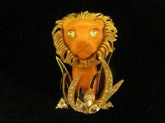 Hattie Carnegie Lion in the Grass Brooch Pin