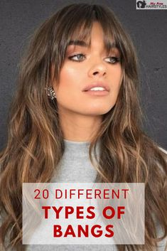 There are so many different types of bangs out there, that it can be extremely hard to choose the ones for you, so we're here to help! Long Haircuts With Bangs, Long Hair With Bangs, Hairstyles For Round Faces, Long Hair Cuts, Wavy Hair, New Hair, Thick Hair Hairstyles Medium, Long Hair Fringe, Long Bob Bangs