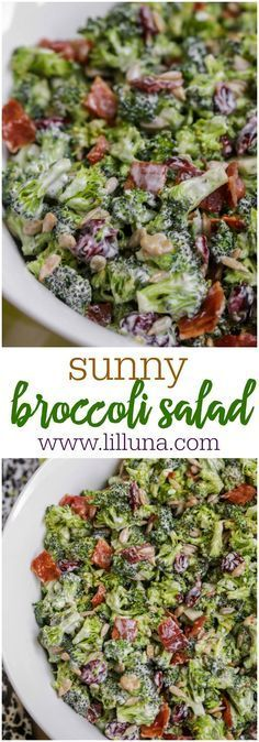 Sunny Broccoli Salad - A simple, tasty and hearty broccoli salad served with bacon, cranberries, sunflower seeds, and mixed with a delicious, homemade mayonnaise-vinegar based dressing that is perfect for BBQs and get togethers.