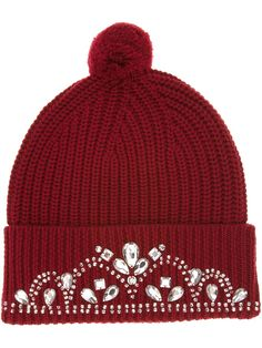 Burgundy Beany. Like a princess.Markus Lupfer knitted jewel beanie