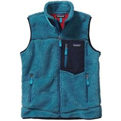 Patagonia Women's Classic Retro-X Vest ($179) ❤ liked on Polyvore featuring outerwear, vests, underwater blue, patagonia vest, patagonia, vest waistcoat, blue vest and zip vest