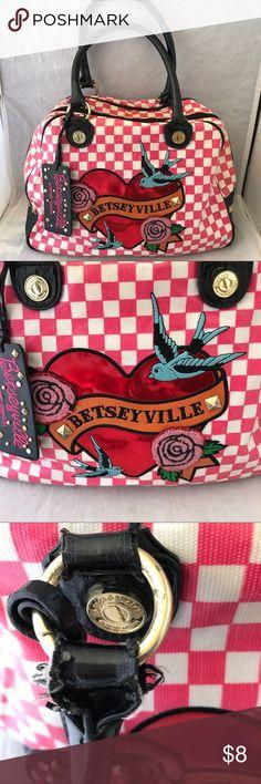 Betseyville Checkered Heart birds n flight bag Betseyville Checkered Heart birds n flight bag - used see all pics Betsey Johnson Bags Satchels