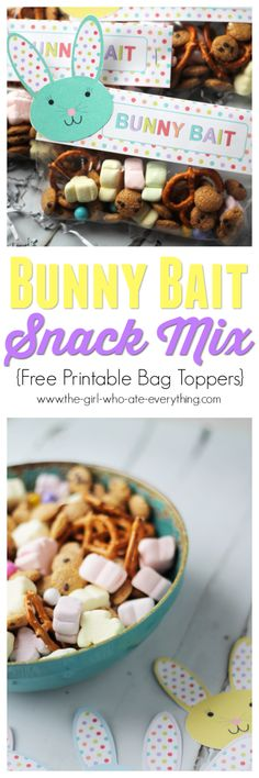 Bunny Bait Snack Mix with Free Printable Bag Toppers